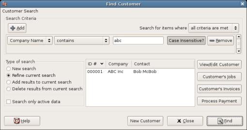 Find Customer Window