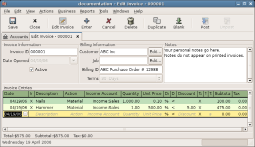Edit Invoice Window