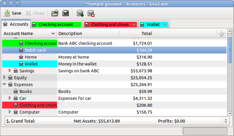 GnuCash for Mac OS X screenshot