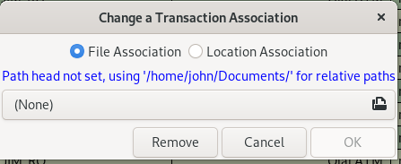 [Transaction Association Dialog]